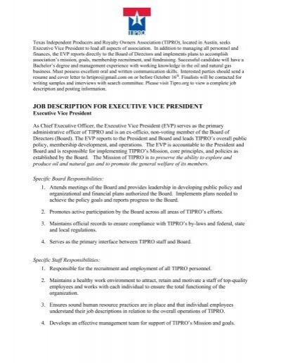 job description for executive vice president - Texas Independent - vice president job description