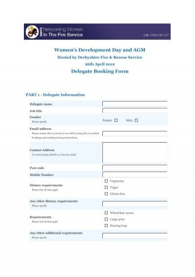 Printable booking form (pdf) - Networking Women in the Fire Service - fire service application form