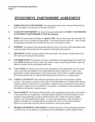 FNF Investment Partnership Agreement - Bivio - partenership agreement