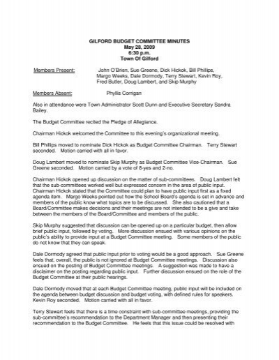 GILFORD BUDGET COMMITTEE MINUTES May - Town of Gilford - minutes of organizational meeting