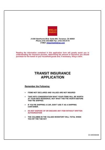 TRANSIT INSURANCE APPLICATION - Crown Line