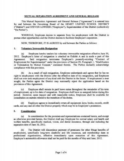 SEPARATION AGREEMENT AND RELEASE OF ALL CLAIMS This - employment release agreement