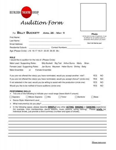 Production Audition Form - Theatre and Dance - Missouri State - audition form