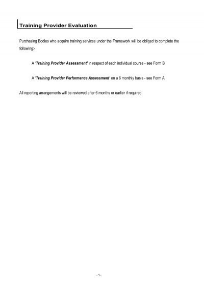 Template Training Provider Assessment Forms A  B - National