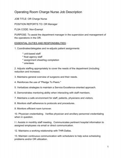 Operating Room Charge Nurse Job Description - Physician Job Description