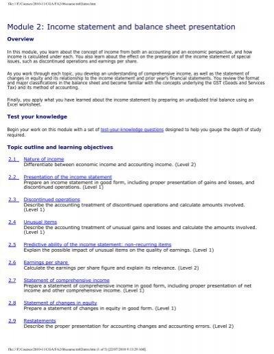 Module 2 Income statement and balance sheet presentation - PD Net - proper income statement