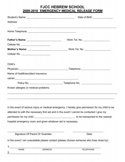 Emergency Medical Form - Northwestern Schools - School Medical Form