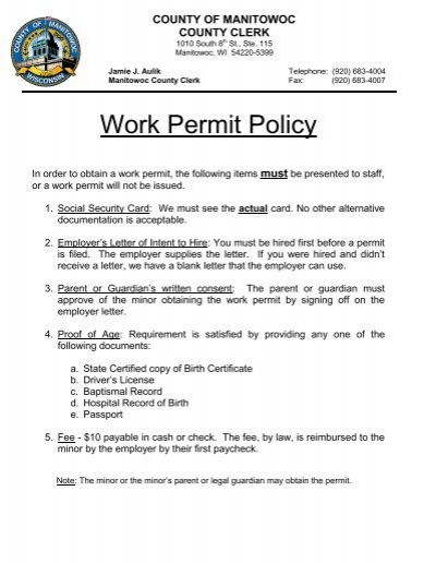 Work Permit Instructions and Employer Letterpdf - Manitowoc County