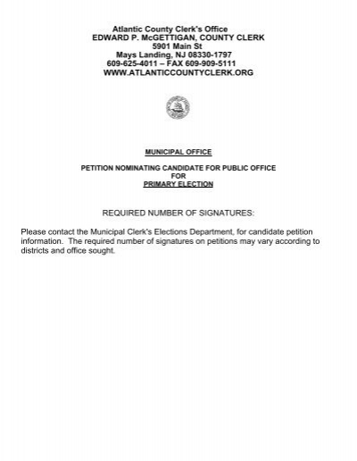 Petition \u2013 Municipal Office, Primary - Atlantic County Clerk - petition office