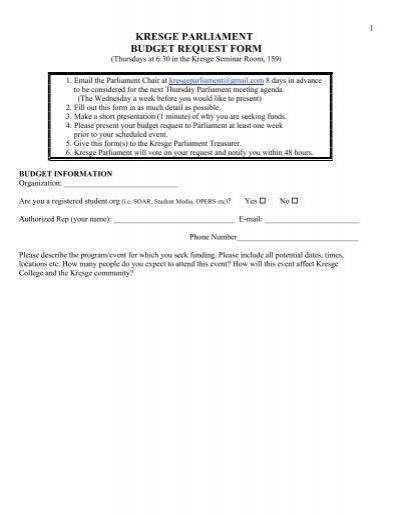 KRESGE PARLIAMENT BUDGET REQUEST FORM - Kresge College - budget request form