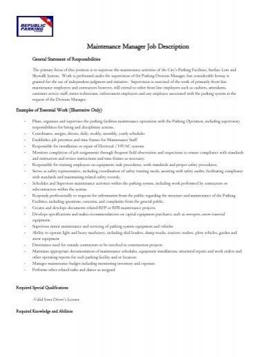 Maintenance Manager Job Description - Park Cedar Rapids