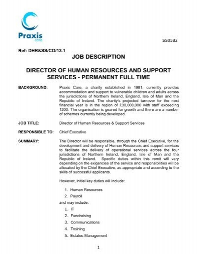 job description director of human resources and - Praxis Care - it director job description