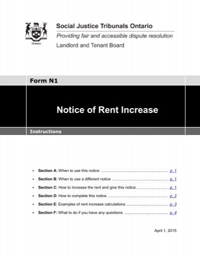 Notice of Rent Increase Form N1 Instructions - Landlord Tenant Board
