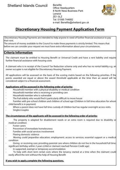 Discretionary Housing Payment Application Form - Shetland Islands - rental assistance form