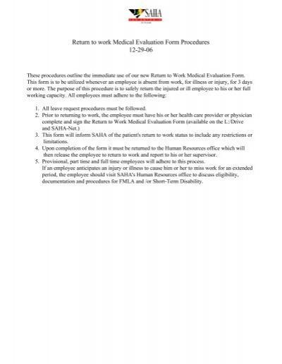 Return to work Medical Evaluation Form Procedures 12-29-06