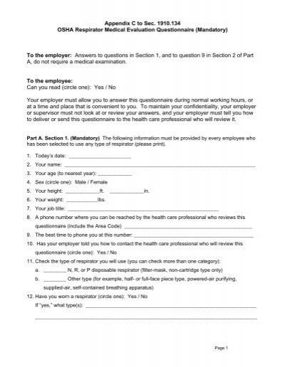 OSHA Respirator Medical Evaluation Questionnaire