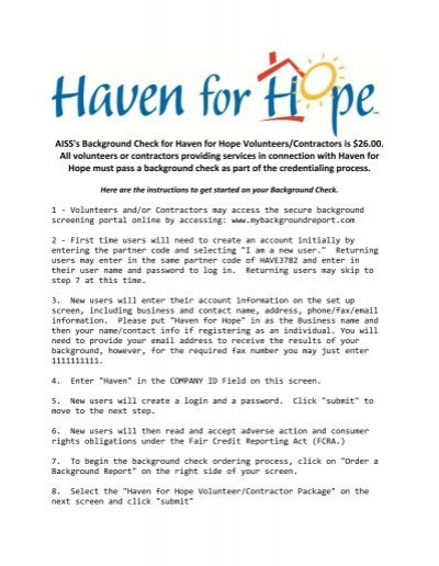AISS\u0027s Background Check for Haven for Hope Volunteers - background report