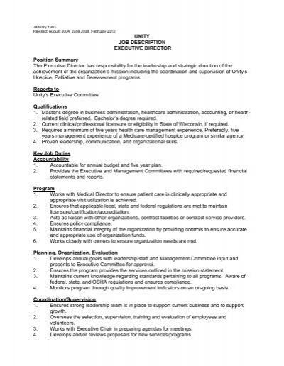 UNITY JOB DESCRIPTION EXECUTIVE DIRECTOR Position
