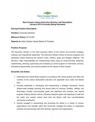 Executive Director Job Description - Gossage Sager Associates - executive director job description