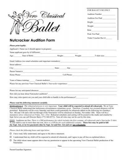 Nutcracker Audition Form - Vero Classical Ballet - audition form