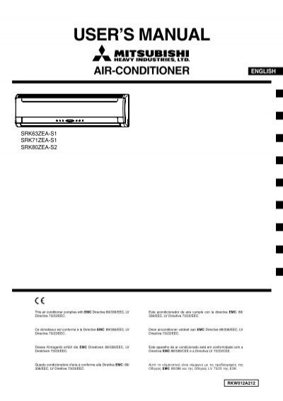 mitsubishi air conditioner manual srk63zea s1