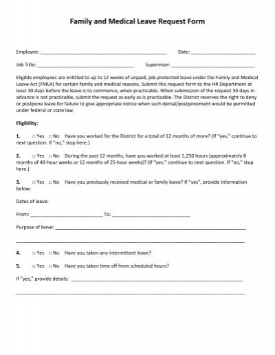 Family and Medical Leave Request Form