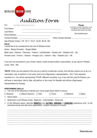 Audition Form - Beenleigh Theatre Group - audition form