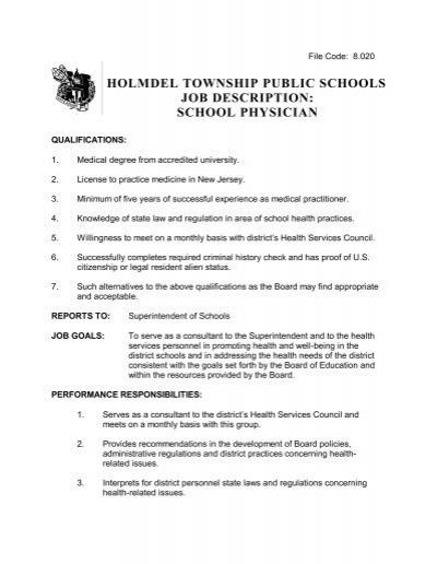 holmdel township public schools job description school physician - Physician Job Description