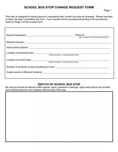 school bus stop change request form - Kearsarge Regional School