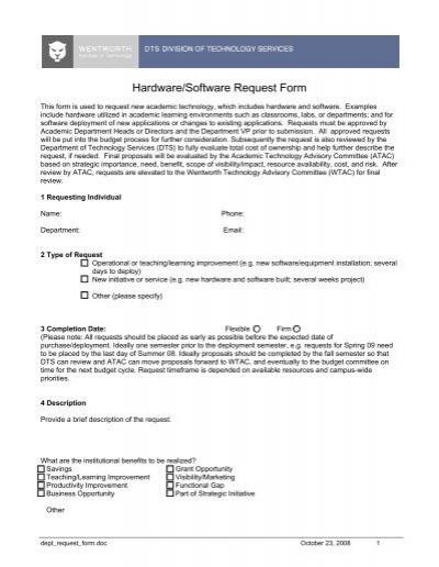 Hardware/Software Request Form - Wentworth Institute of Technology - software request form