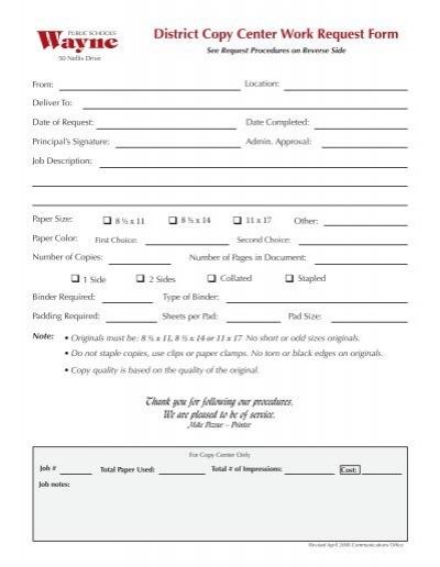 District Copy Center Work Request Form - Wayne NJ Public Schools