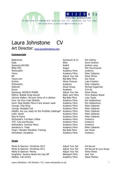 Laura Johnstone CV - Wizzo  Co - tesco cv