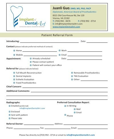 Patient Referral Form - ImplantDentalArt - office referral form