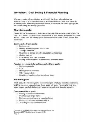 Worksheet Goal Setting  Financial Planning