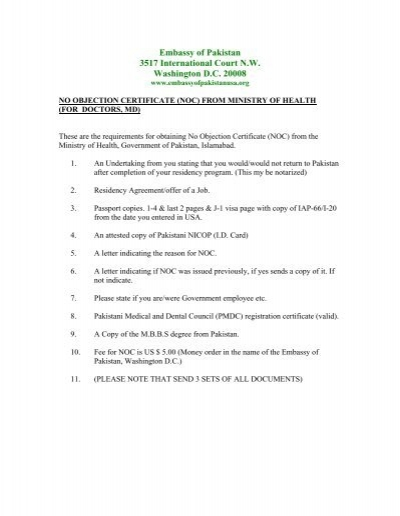 Form for No Objection Certificate (NOC) - Embassy of Pakistan