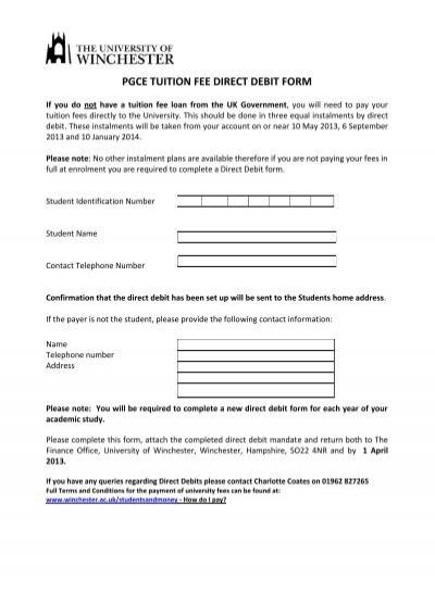 PGCE March Start Tuition Fee Direct Debit Form 12-13 - direct debit form