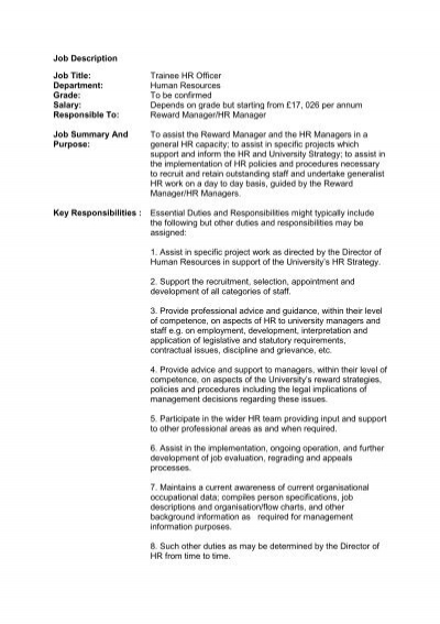 Job Description Job Title Trainee HR Officer Department Human