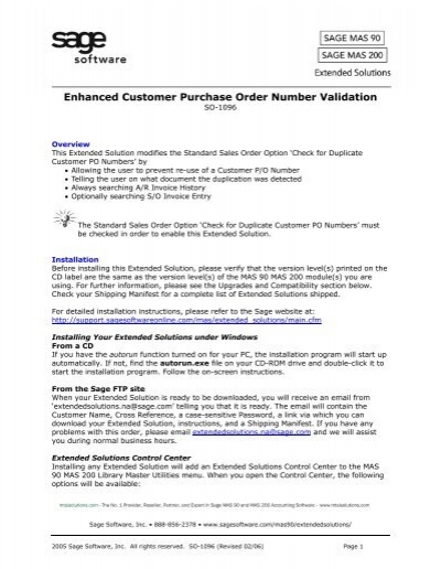SO-1096 Customer Purchase Order Number Validation