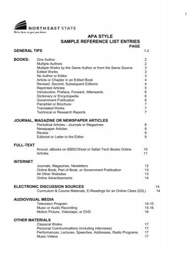 apa style sample reference list entries - Northeast State Community