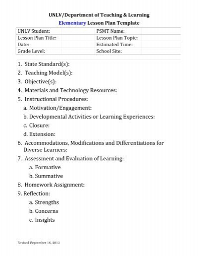 Elementary Lesson Plan Template - Department of Teaching - elementary lesson plan template