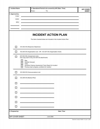 Incident Action Plan Cover Sheet - incident action plan