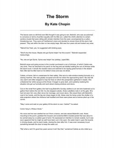 Analytical essay on the storm by kate chopin
