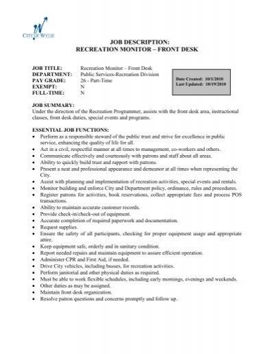 job description recreation monitor â\u20ac\u201c front desk - City of Wylie