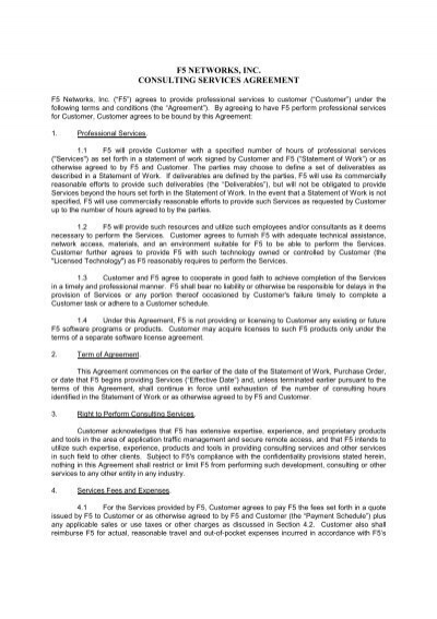 Consulting Services Agreement F5 Networks