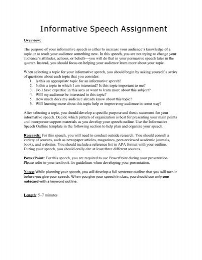 Informative Speech Assignment - Fountainhead Press - informative speech