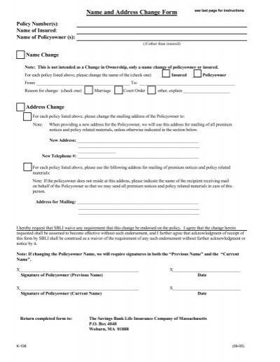 Name and Address Change Form - mySBLI