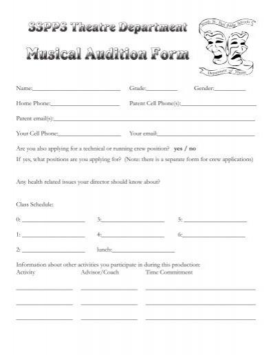 audition form cvresummer - audition form
