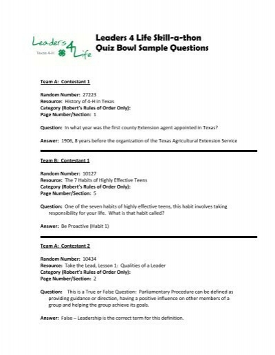 Leaders 4 Life Skill-a-thon Quiz Bowl Sample Questions