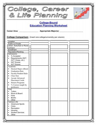 Education Planning Worksheet - College Career Life Planning