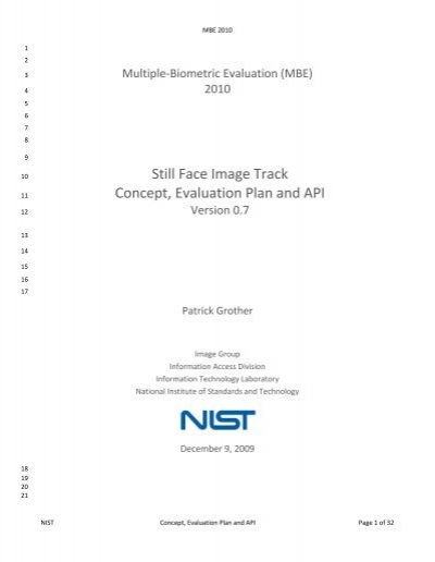 Still Face Image Track Concept, Evaluation Plan and API